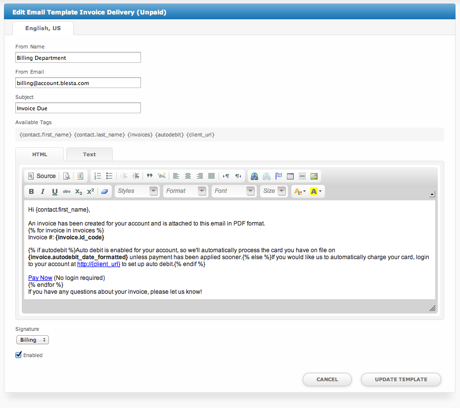 Important Settings User Manual Confluence - Invoice email to client