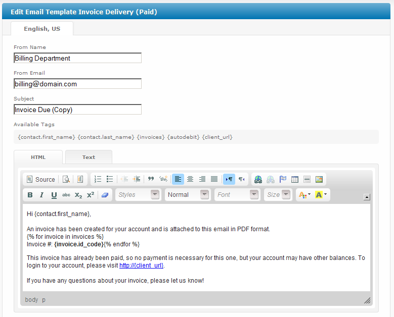 invoice delivery (paid) - user manual - confluence, Invoice templates