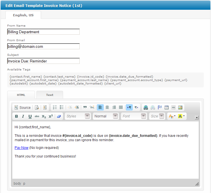 Invoice Notice St User Manual Confluence - Invoice attached email example